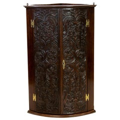 English Carved Oak Corner Cupboard