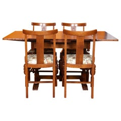 English Carved Oak Dining Table and 4 Chairs Country Arts & Crafts