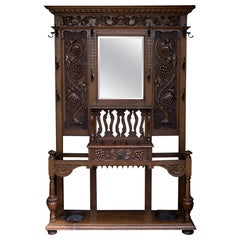 English Carved Oak Hall Stand