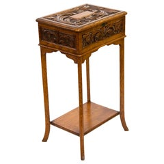 English Carved Oak Lift Top Side Table