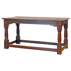 English Carved Oak Refectory Table on Baluster Legs and Stretcher Base