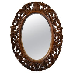 English Carved Oval Wall Mirror