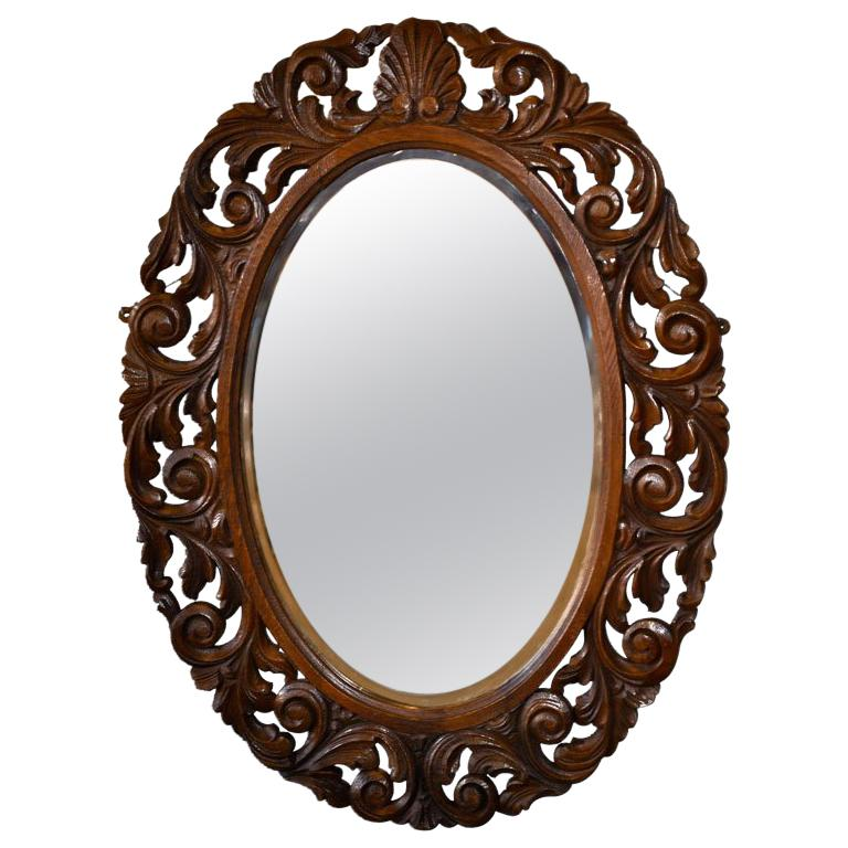 English Carved Oval Wall Mirror For Sale at 1stdibs
