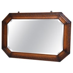 English Carved Tiger Oak Wood Octagon Frame Beveled Wall Mirror Greek Key