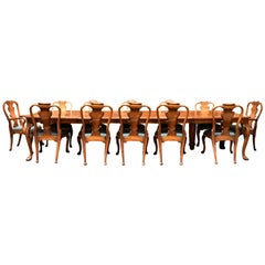 English Carved Walnut Dining Set, 19th Century