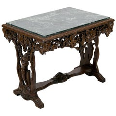 English Carved Walnut Marble-Top Table