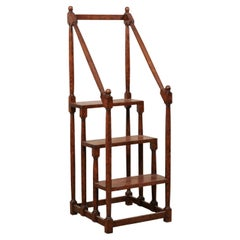 English Carved-Wood Library Step Ladder Would Also Be a Great Kitchen Piece