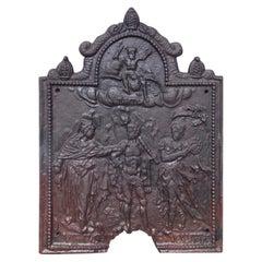 English Cast Iron Figural and Foliage Decorative Beaded Border Fire Back, C 1770