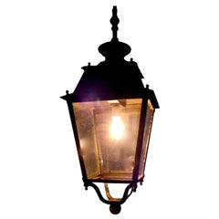 English Cast Iron Lantern Pendant, circa 1920-1930