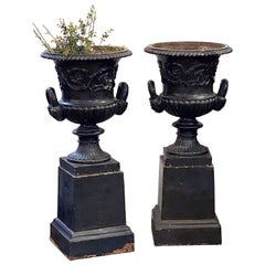 English Cast Iron Urns on Plinths from the Regency Era, Individually Priced