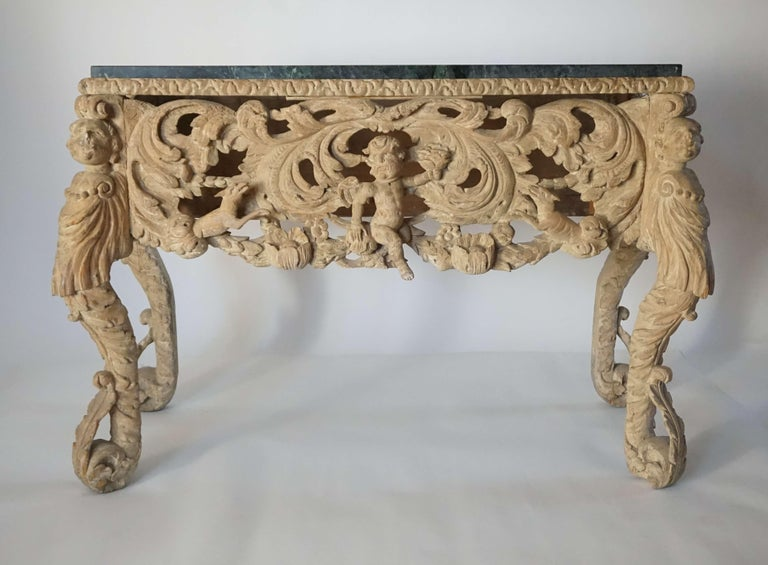 English Charles II Elaborately Carved Wood Marble Top Console, circa 1660 For Sale 6