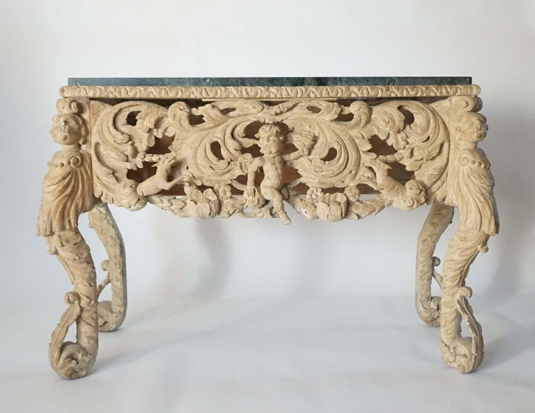 English Charles II Elaborately Carved Wood Marble Top Console, circa 1660 For Sale 10