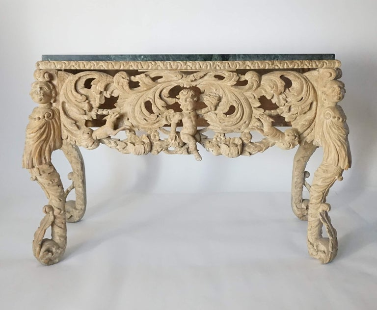 English Charles II Elaborately Carved Wood Marble Top Console, circa 1660 In Good Condition For Sale In Kinderhook, NY