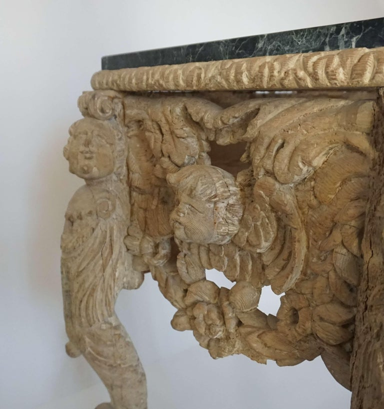 Softwood English Charles II Elaborately Carved Wood Marble Top Console, circa 1660 For Sale