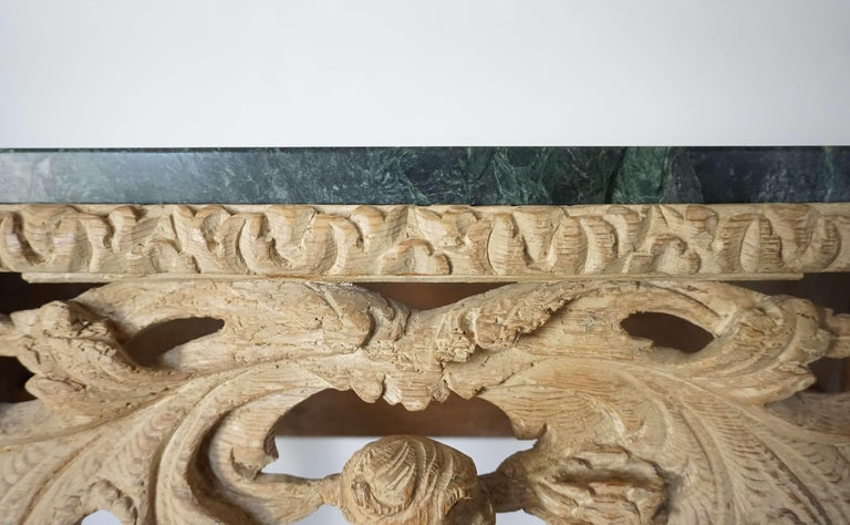 English Charles II Elaborately Carved Wood Marble Top Console, circa 1660 For Sale 1