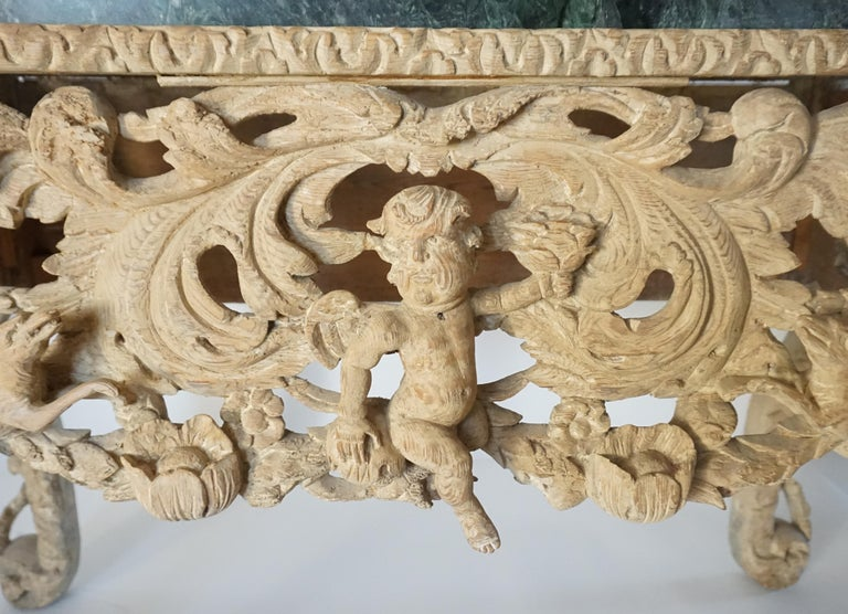 English Charles II Elaborately Carved Wood Marble Top Console, circa 1660 For Sale 2