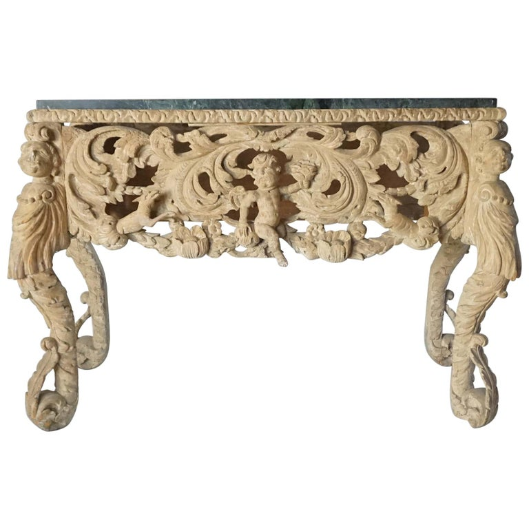 English Charles II Elaborately Carved Wood Marble Top Console, circa 1660 For Sale