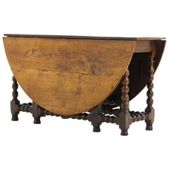 English Charles II Oak Drop Leaf Bobbin Turned Gate Leg Table
