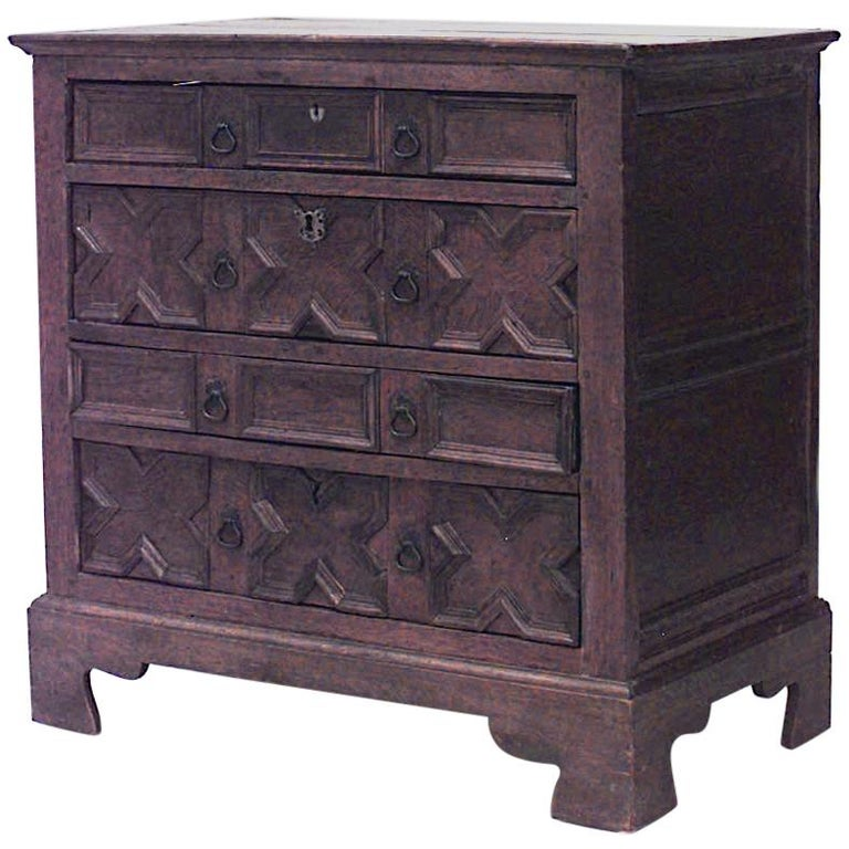 English Charles II Style Oak Chest of Drawers For Sale