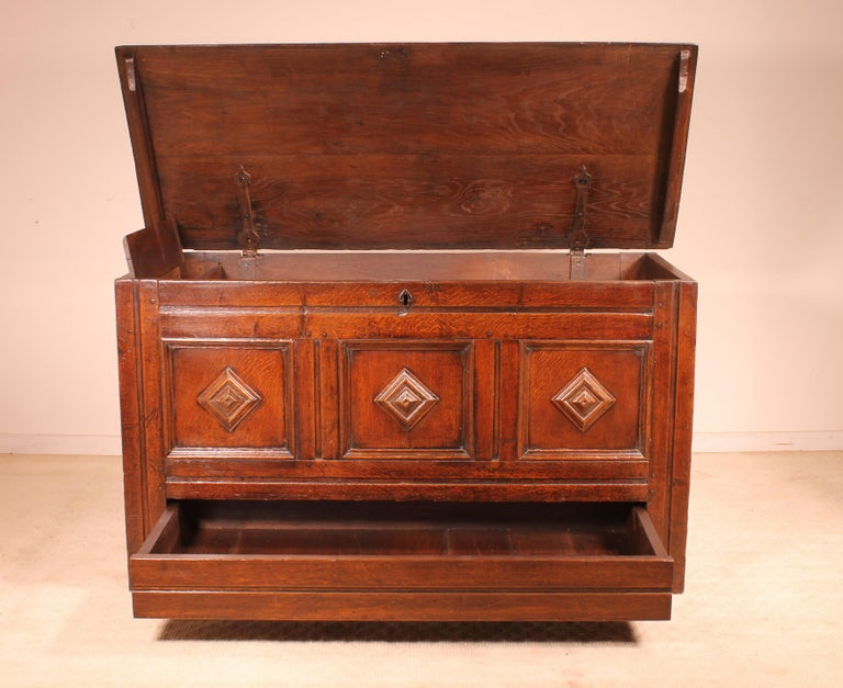 A fine early 18th century chest in oak  Fine geometrical scupltures   beautiful english chest that stands out by its small drawer in the bottom, his Fitted Candle Box and his beautiful proportions   Beautiful patina and in perfect condition.