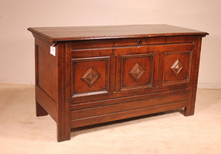 18th Century and Earlier English Chest of the 18th Century in Oak with a Fitted Candle Box For Sale