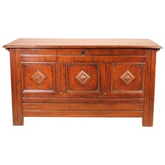 English Chest of the 18th Century in Oak with a Fitted Candle Box