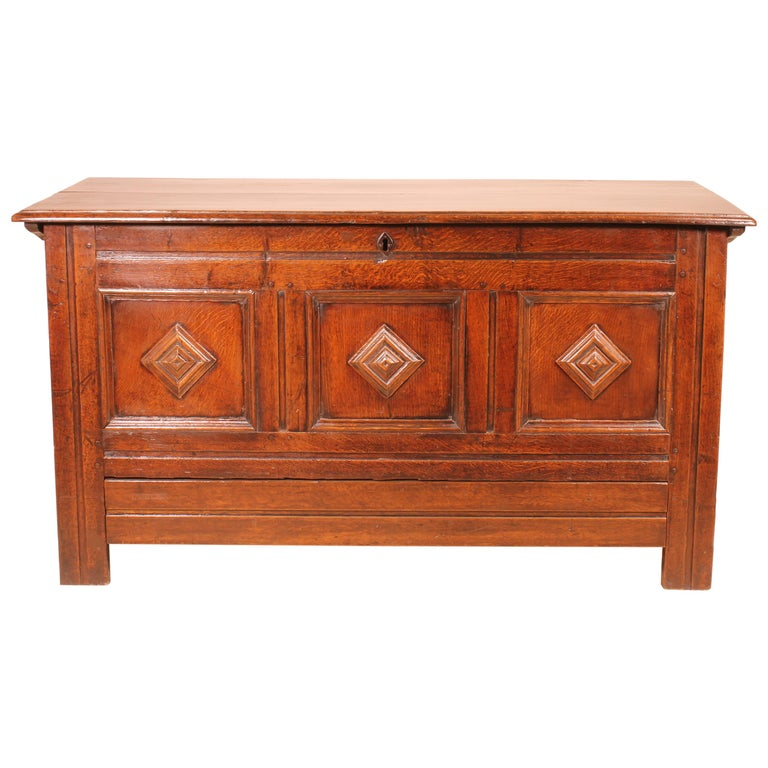 English Chest of the 18th Century in Oak with a Fitted Candle Box For Sale