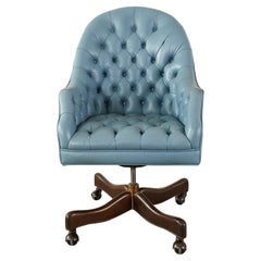 English Chesterfield Leather Barrel Back Executive Desk Chair