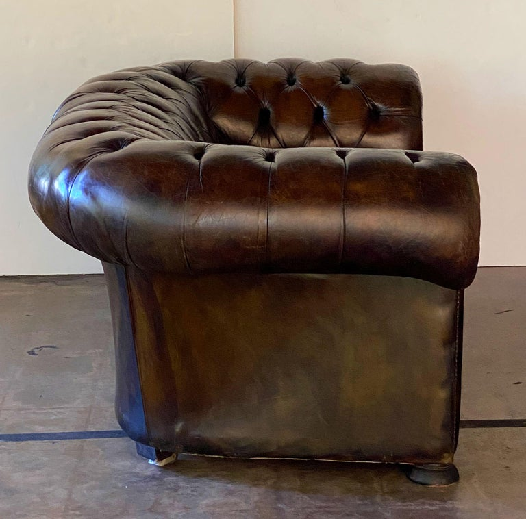 English Chesterfield Sofa of Tufted Leather For Sale 13