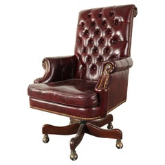 English Chesterfield Style Tufted Leather Executive Desk Chair