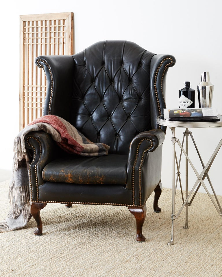 Fantastic English Chesterfield Tufted Leather Wingback Library Chair Spiritservingveterans Wood Chair Design Ideas Spiritservingveteransorg