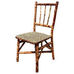 English Children's Burnt Tortoise Bamboo Upholstered Leopard Print Chair