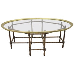 English Chinese Chippendale Faux Bamboo Glass Brass Tray Top Coffee Table