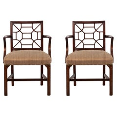 English Chinese Chippendale Style Armchair Pair