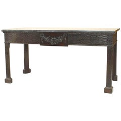 Chinese Chippendale Mahogany Green Marble Console Table