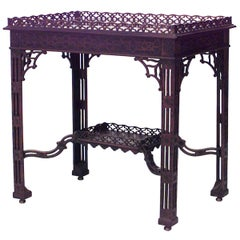 English Chinese Chippendale Style Silver Table