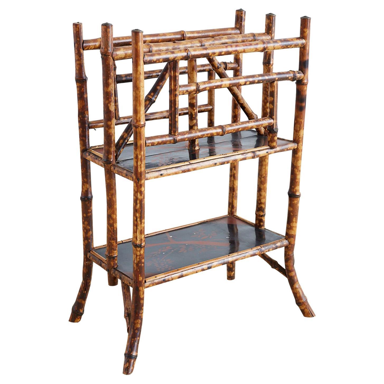 English Chinoiserie Bamboo Canterbury Magazine Stand