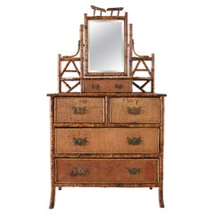 English Chinoiserie Bamboo Dresser Table with Mirror
