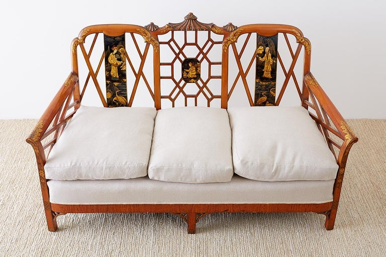 English Chinoiserie Chippendale Style Pagoda Top Settee For Sale 11