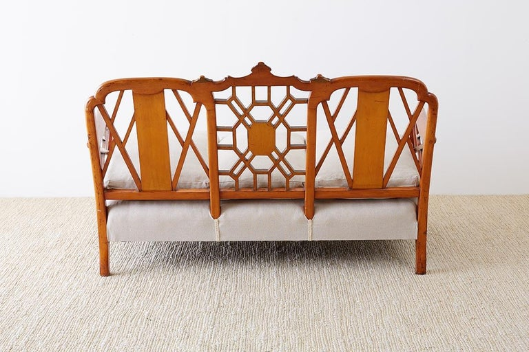 English Chinoiserie Chippendale Style Pagoda Top Settee For Sale 13