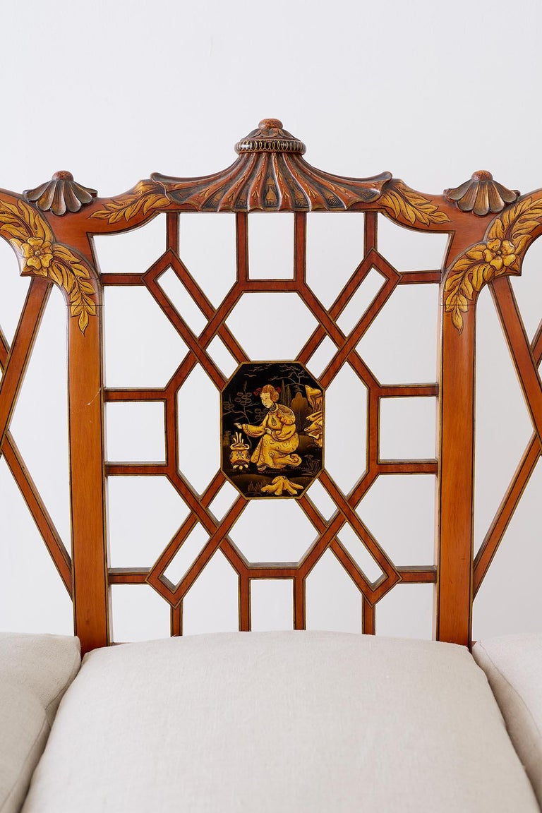 20th Century English Chinoiserie Chippendale Style Pagoda Top Settee For Sale