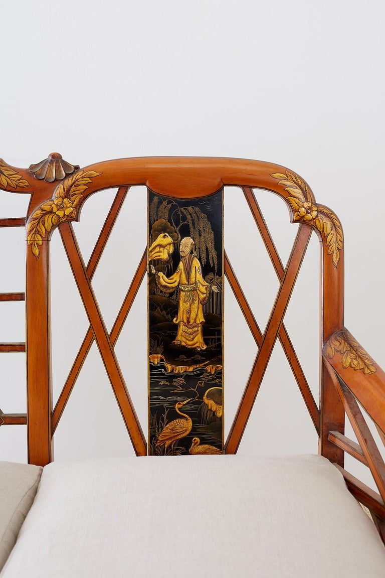 English Chinoiserie Chippendale Style Pagoda Top Settee For Sale 2