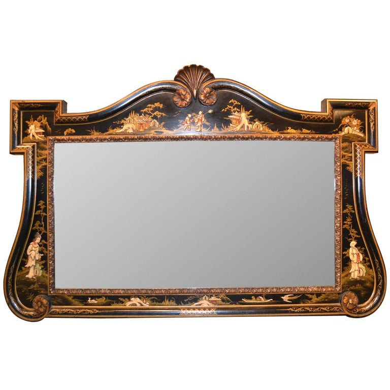 English Chinoiserie Decorated Wall Mirror, circa 1900 For Sale