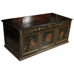 English Chinoiserie Painted Pine Chest
