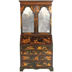English Chinoiserie Secretary with Mirrored Doors