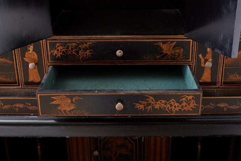 English Chinoiserie Style Lacquered Parcel-Gilt Secretary 3