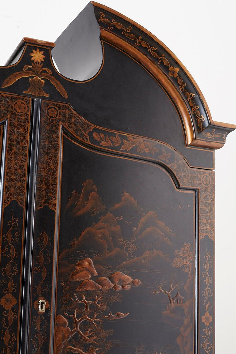 English Chinoiserie Style Lacquered Parcel-Gilt Secretary 5