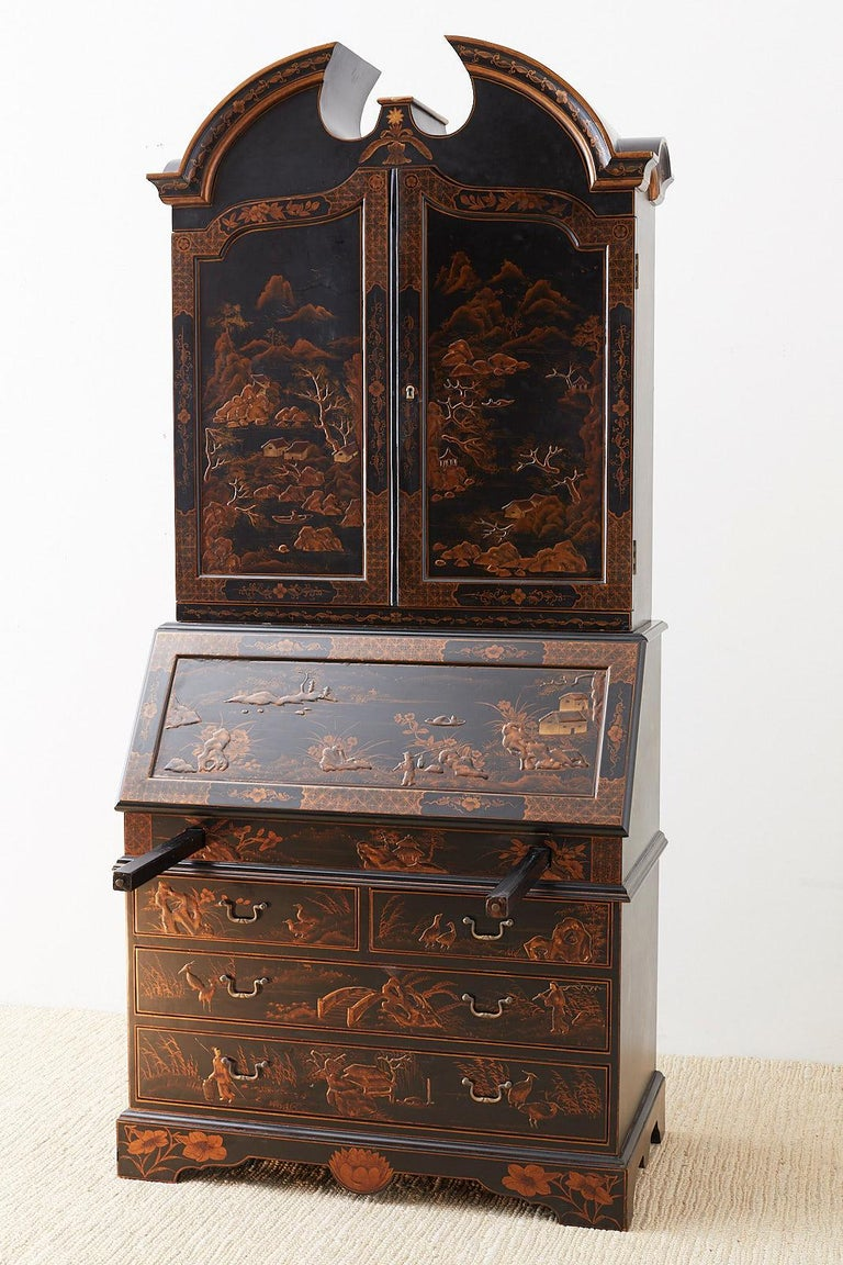 English Chinoiserie Style Lacquered Parcel-Gilt Secretary 6