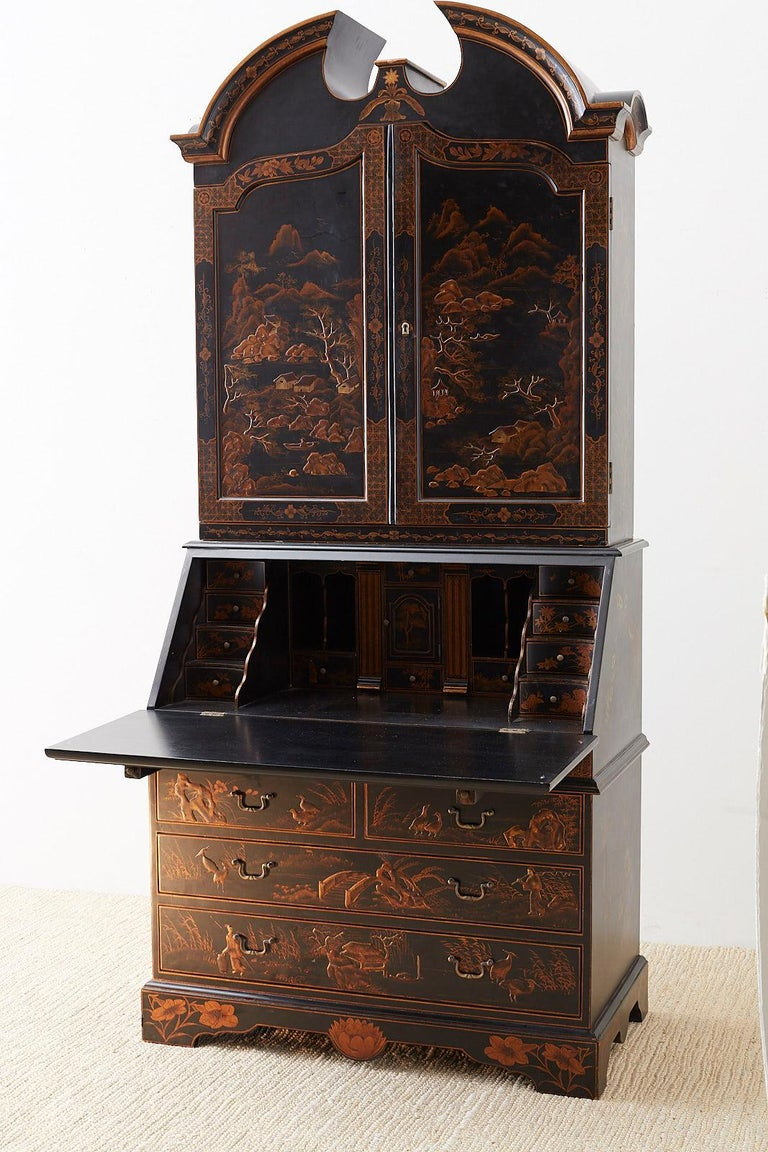 English Chinoiserie Style Lacquered Parcel-Gilt Secretary 7