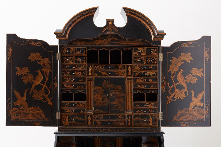 English Chinoiserie Style Lacquered Parcel-Gilt Secretary 8